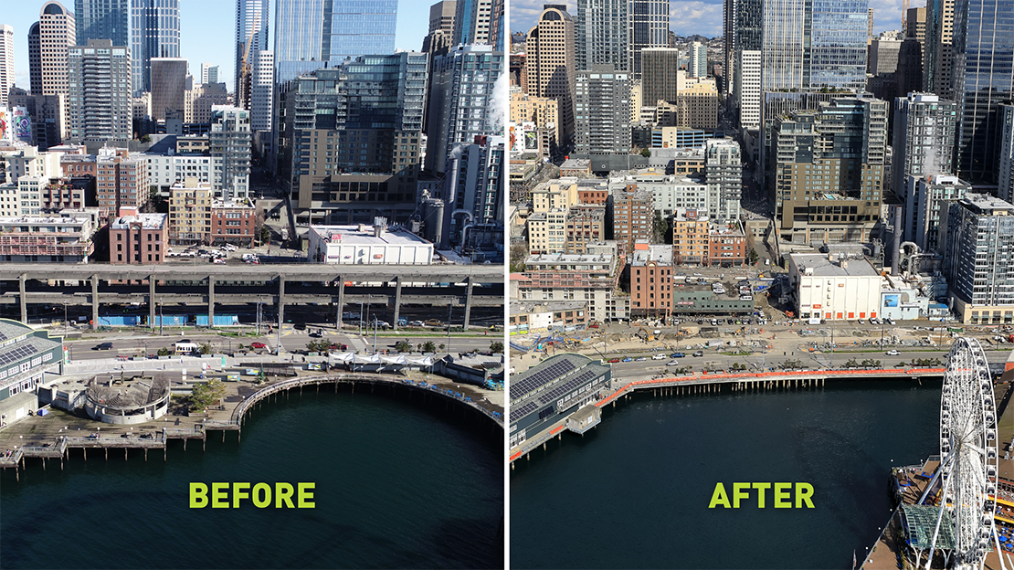 Before and after photo of Pier 58. Removal of Pier 58 was complete in February 2021.