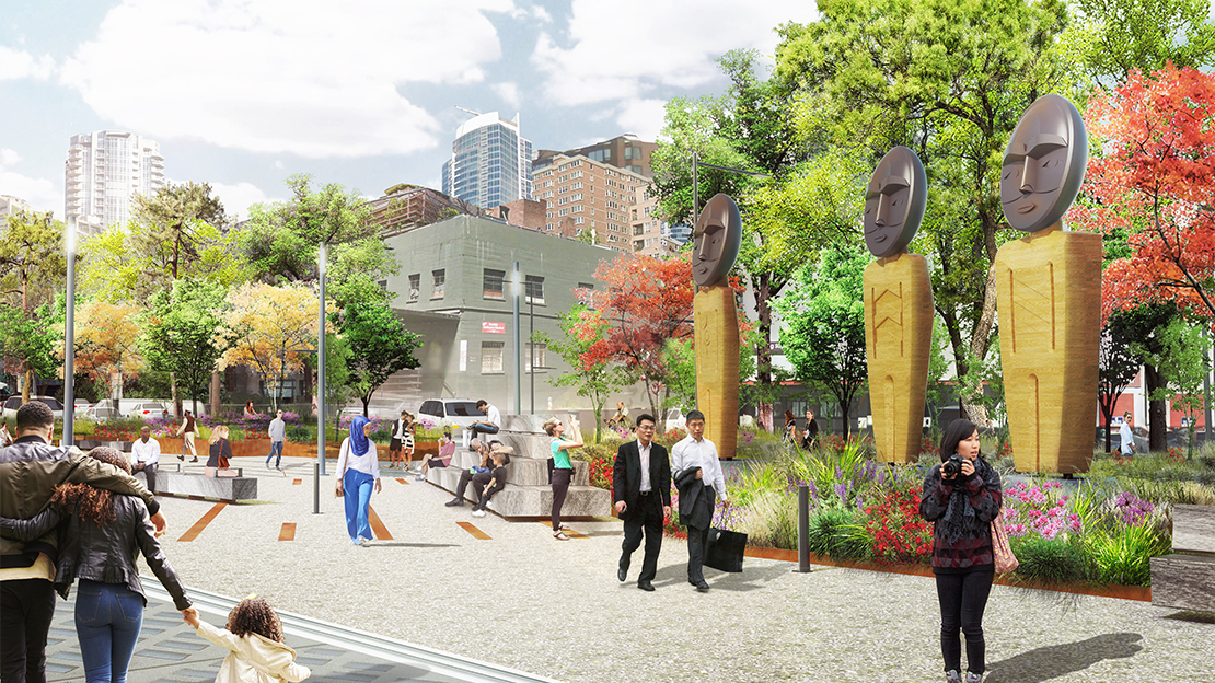 A rendering showing tables and chairs under a semi-shades tree grove on the new pier 58. People are sitting in the chairs and some are standing.