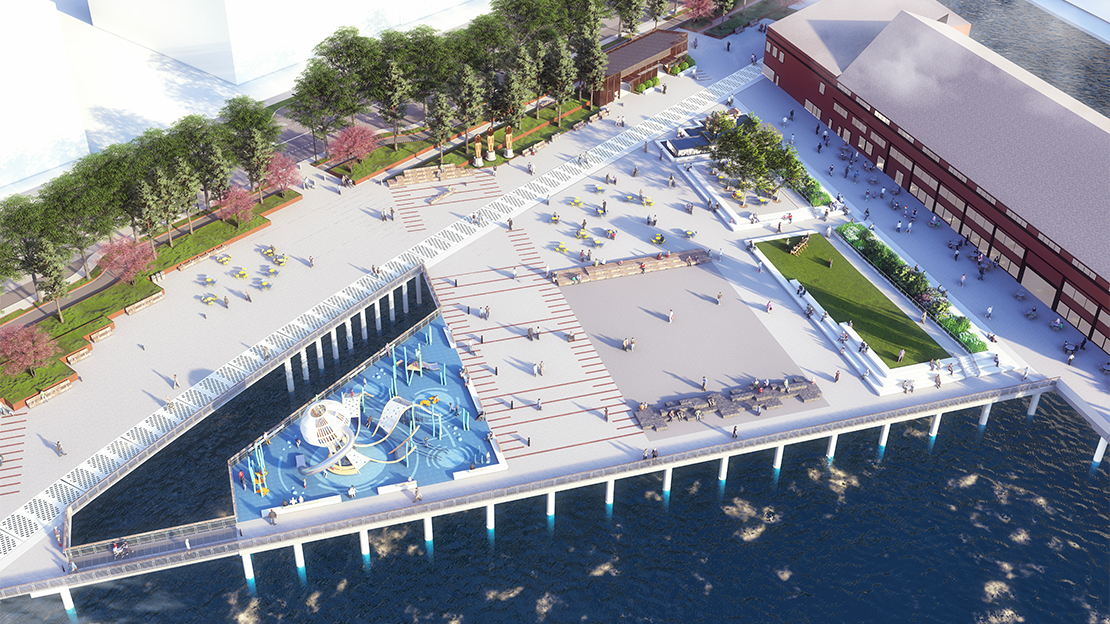 Aerial rendering of the new pier 58