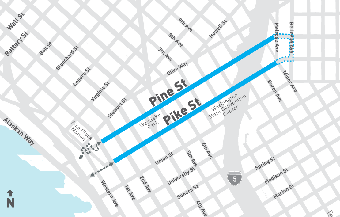 Map highlighting Pike and Pine streets between First Avenue and Melrose Avenue as the project area for Pike + Pine Renaissance