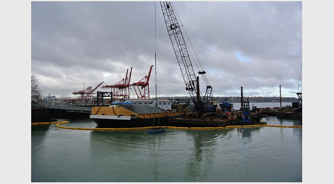 Photo of a crane on a barge lowering a pile of rocks into the marine habitat zone