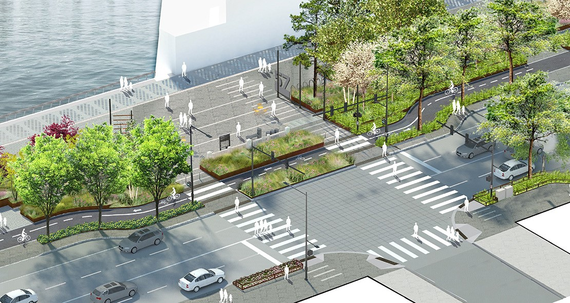 Rendering of an intersection with two vehicle lanes in each direction, greenery lining the pedestrian and protected bicycle lane, and a food and beverage booth by the water.