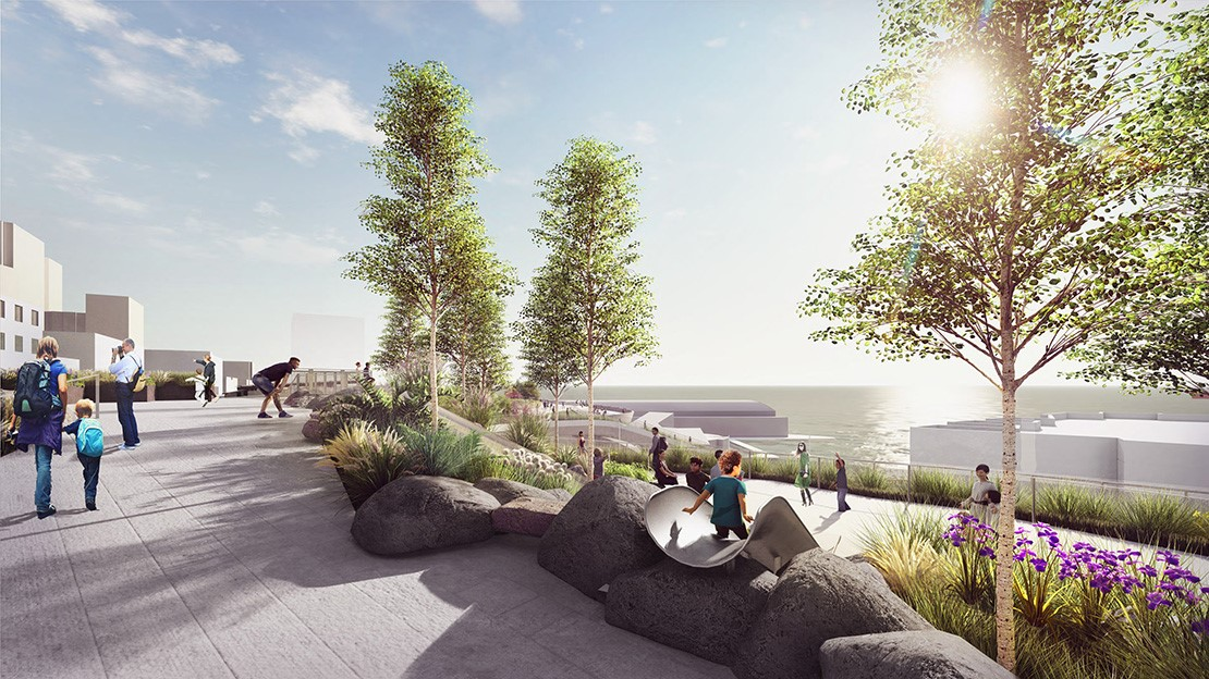 Rendering of a view from an elevated plaza facing Puget Sound, showing the top of a slide where a child is slidiing down to a lower level of the plaza, surrounded by greenery.