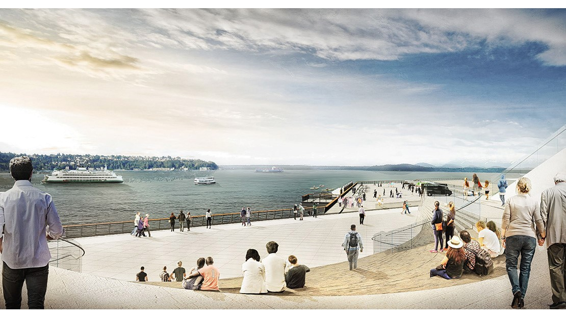 People seated in an amphitheater overlooking Elliott Bay
