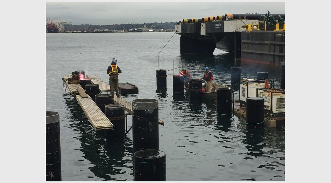 Photo of crew members placing pre-cast concrete pile caps on the new steel piles.