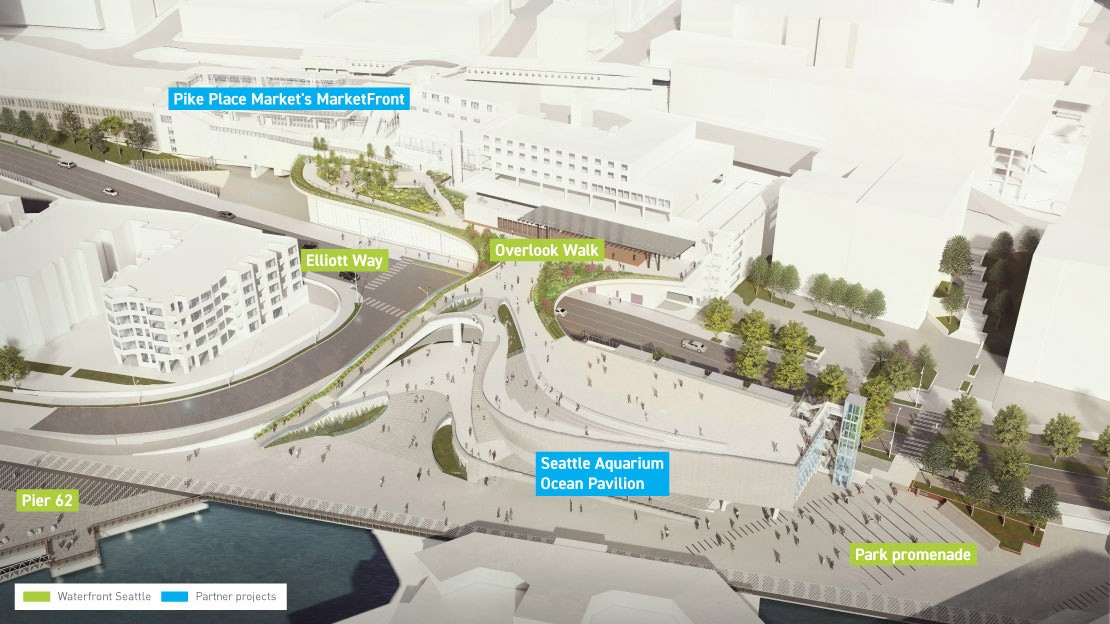 Design rendering showing aerial view of new Overlook Walk pedestrian bridge between Pike Place Market and the new waterfront near the Seattle Aquarium.