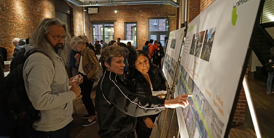 Stakeholders observe Pioneer Square Design Plans
