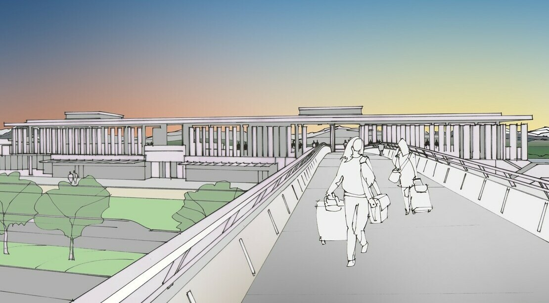 Rendering of a couple people crossing a pedestrian bridge over two-lane road to and from Colman Dock.