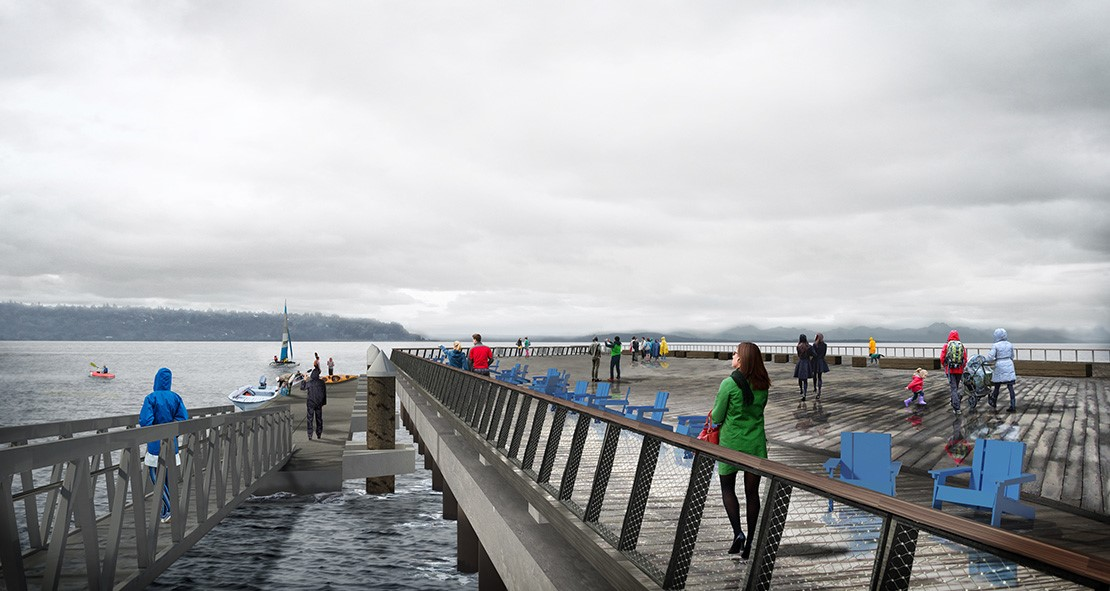 Rendering of pedestrians in raincoats walking on a floating dock. Blue chairs line the path.