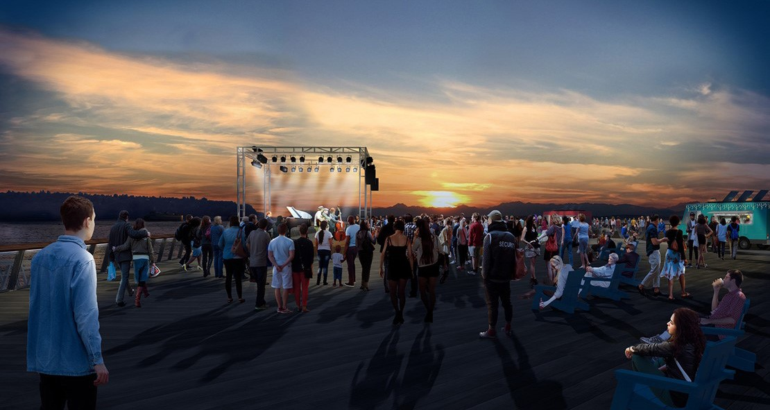 Rendering shows a crowd attending a concert at sunset on a dock.