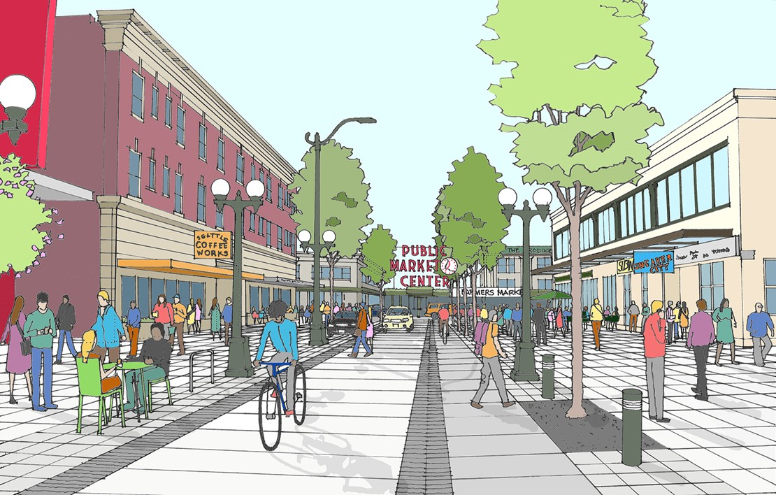 Rendering of a curb-less street with a bicyclist and a car sharing a road, and many pedestrians roaming the sidewalks.