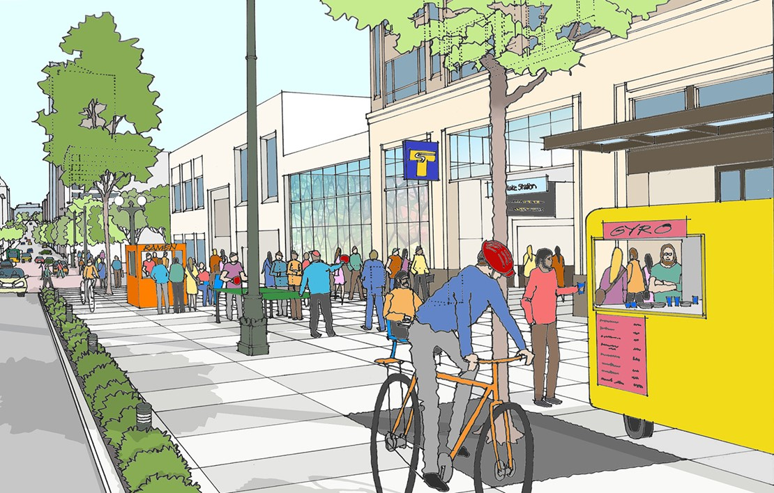 Rendering of a cyclist, pedestrians and a hot dog stand on a large path by a transit stop.