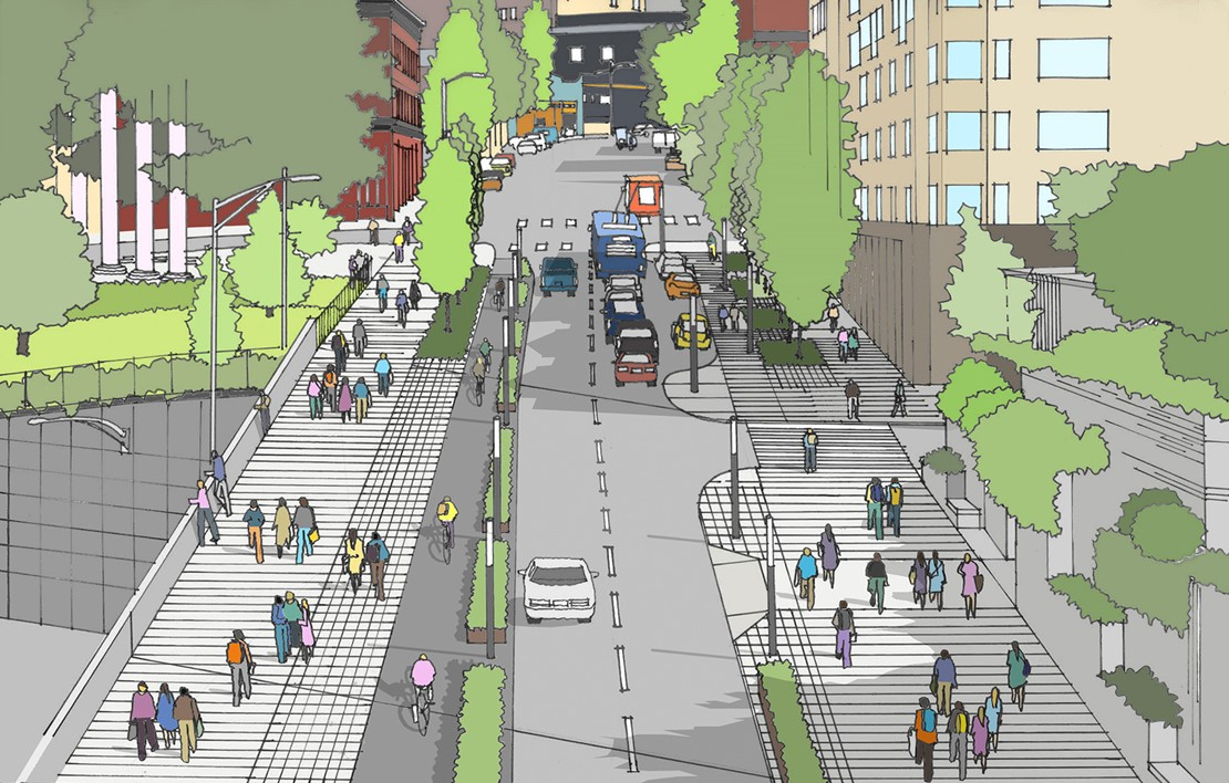 Rendering of a two-lane road and pedestrians walking on protected sidewalks.