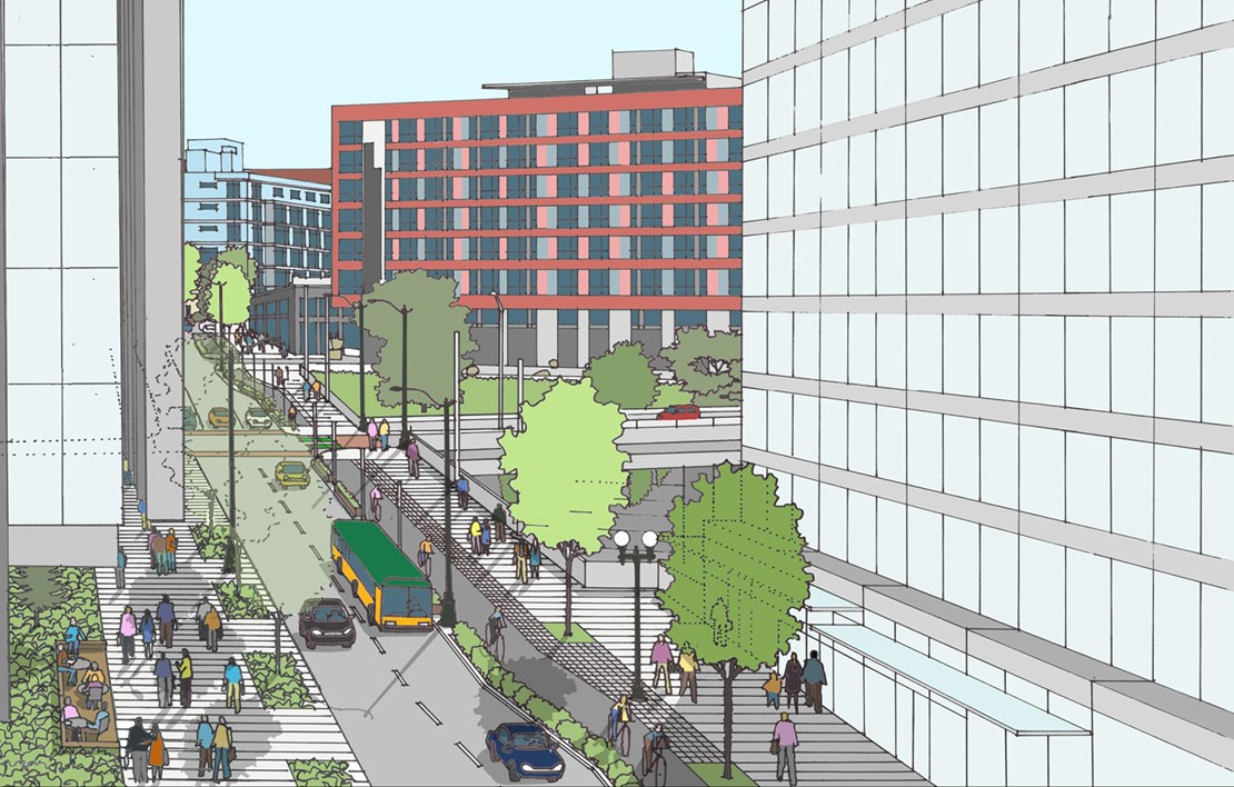 Rendering of a bus and two vehicles using a two-lane road and pedestrians walking on protected sidewalks besides large buildings.