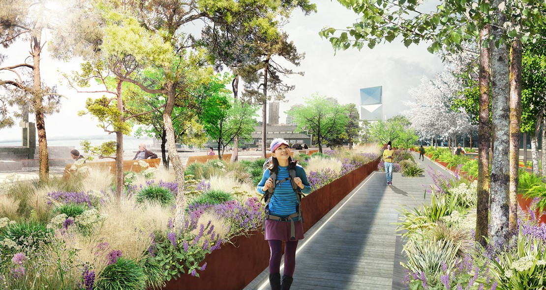 Rendering of a smiling young woman walking down a landscaped pedestrian path.