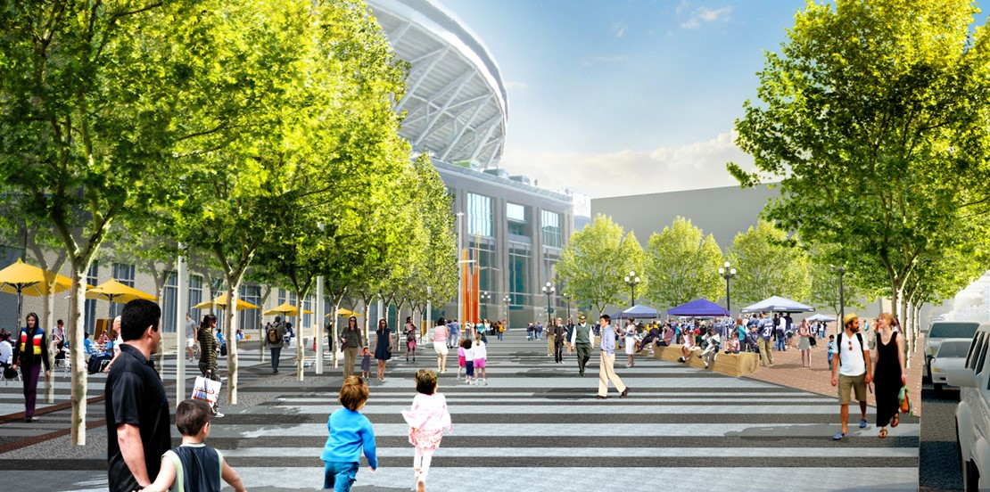 Rendering of a large pedestrian path lined with trees and leading up to the stadiums.