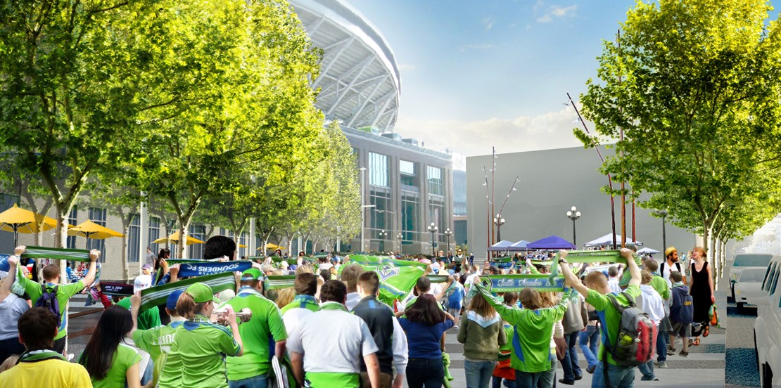 Rendering of a crowd of Sounders fans united on a large pedestrian path near the stadiums.