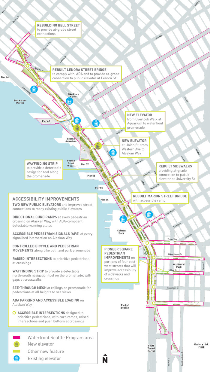 Map of the downtown waterfront pointing out locations of the accessibility features designed as part of the Waterfront Seattle program, including new elevators and pedestrian connections. For a text description of the features, please read the Waterfront Accessibility Plan linked on this webpage