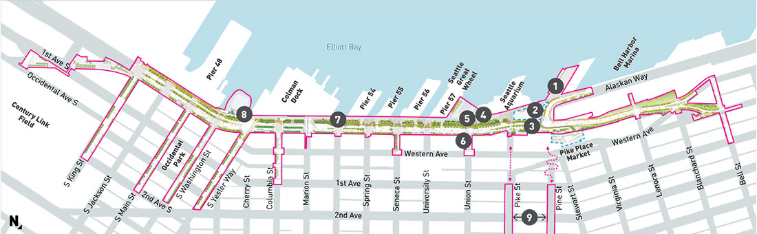 Map of the waterfront area showing the locations of the permanent art installations