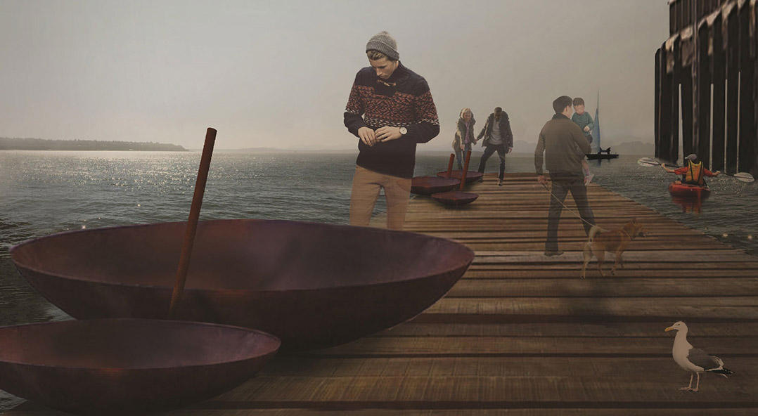 """Design rendering of Stephen Vitiello's art piece """"Land Buoy Bells"""" which will include several large bowl-shaped metal pieces on Pier 62"""
