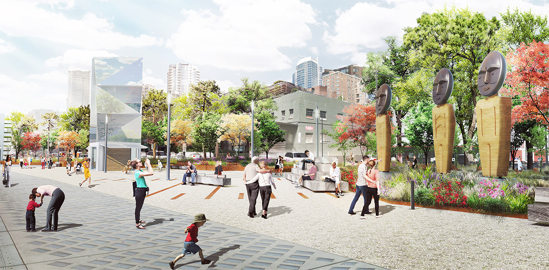 """Design rendering of Qwalsius-Shaun Peterson's art piece """"In the Spirit of Chief Sealth"""", showing people on the park promenade enjoying three sculptures of Coast Salish-inspired welcome figures"""