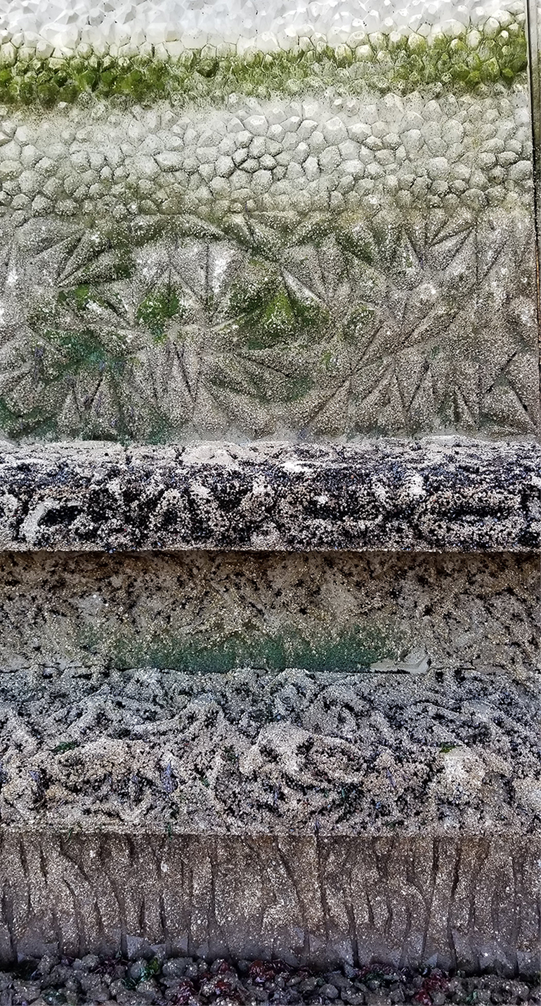 Some marine life has already been growing on the textured panels.