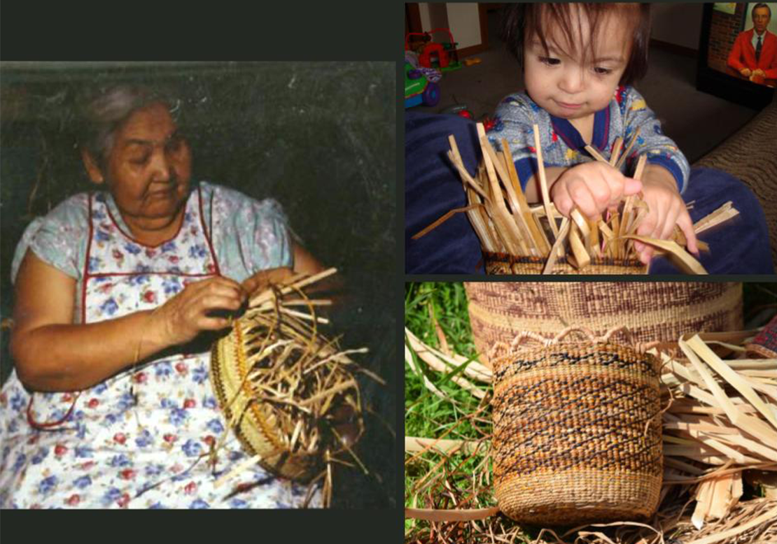 Louisa Pulsifer 'With Her Baskets', 1958. Randy Foster age 2 weaving a soft twined basket of cattail and sweetgrass; Completed sweetgrass and cattail soft twined basket by Malynn Foster