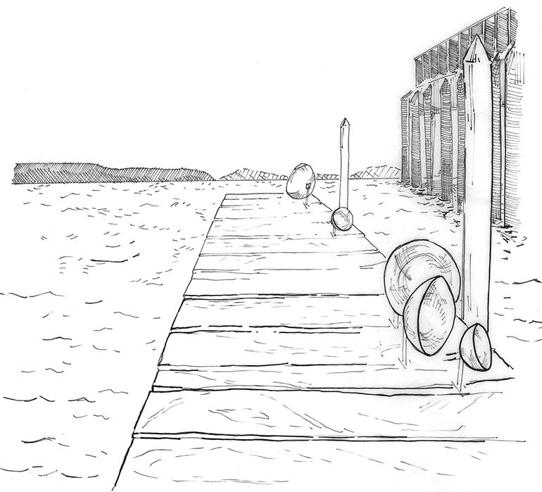 Illustration of land buoy bells by Nicole Lee