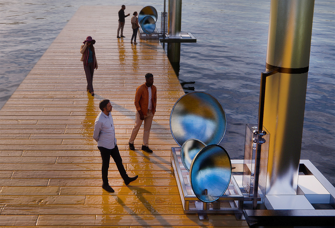Rendering of a floating doc that includes an art installation where metal half-sphere shapes are mounted vertically on a structure attached to the foundations of a dock